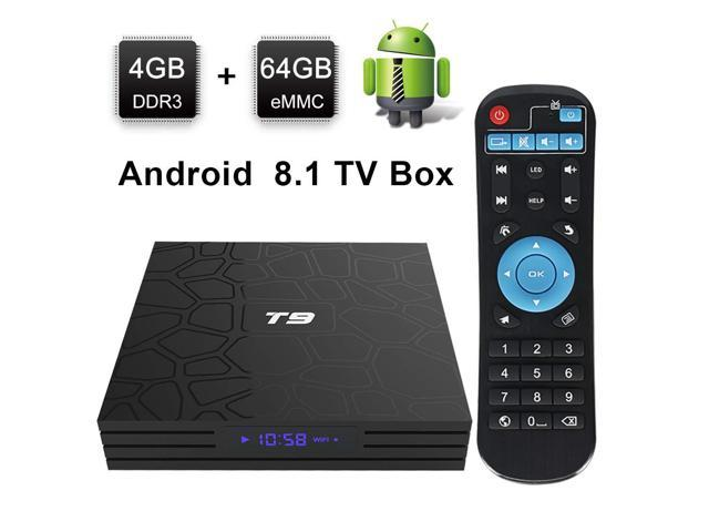 Android TV Box, HAOSIHD T9 Android 8 1 TV Box,4GB RAM 64GB ROM RK3328  Quad-core, Support 4K Full HD 2 4Ghz WiFi BT 4 1 Smart TV Box (black1) -