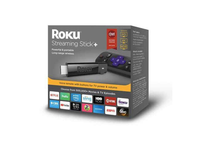 Roku Streaming Stick+ | HD/4K/HDR Streaming Device with Long-range Wireless and Voice Remote with TV Power and Volume