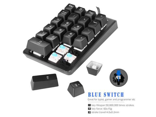 TRONWIRE 3 Color LED Backlit Illuminated 19 Key Wired USB Mechanical Number Pad Numeric Keypad for Laptop Desktop PC Computer