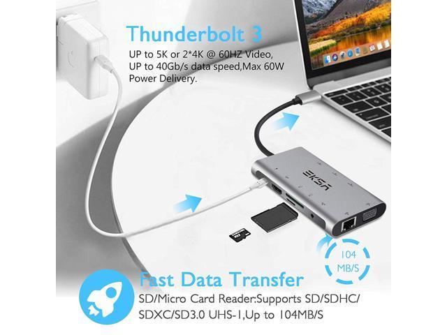 USB C Hub Adapter, EKSA 10 in 1 Thunderbolt 3 Type C Adapter Dock with 3  USB 3 0 Port, 4K HDMI, 1080P VGA, RJ45 Gigabit Ethernet, 3 5mm Audio  Output,