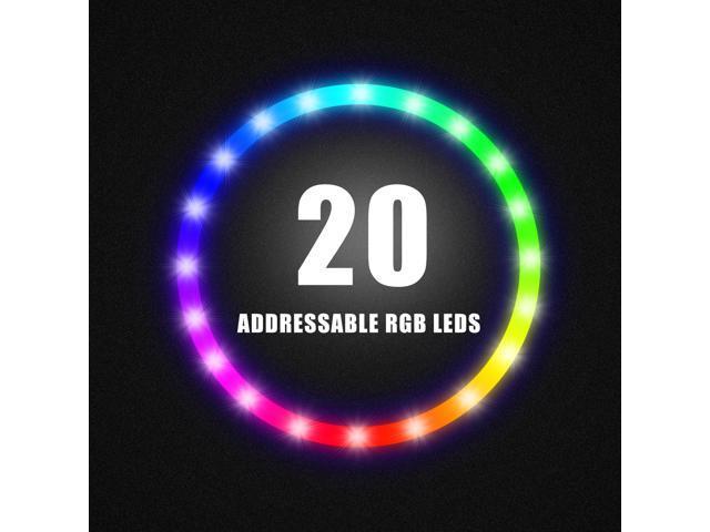 Asiahorse ARGB 5V Motherboard Sync//Analog PWM Controller 20 Addressable LEDs 120mm Hydraulic Bearing Case//Radiator Fan(5 Pack)