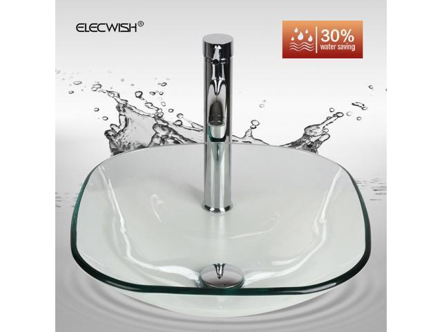 ELECWISH Tempered Glass Vessel Bathroom