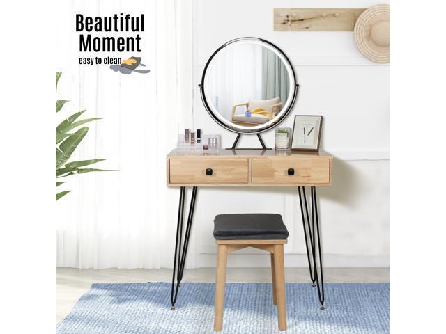 Vanity Set Makeup Dressing Table Stool, Vanity Table Set With Lighted Mirror Stool