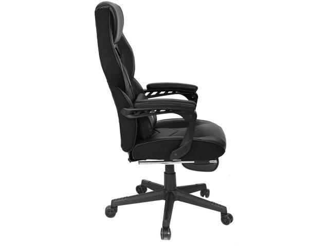 Black Swivel Height Adjustable Reclining PU Leather Video Game Chair YOURLITEAMZ Racing Gaming Chair with Footrest and Massage Lumbar Pillow E-Sports Gaming Chair Big and Tall