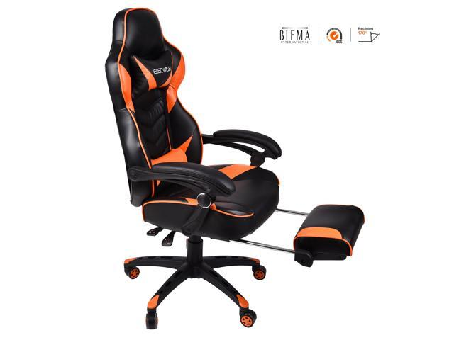 Fantastic Elecwish Video Game Chair High Back Pu Leather Racing Office Chair 360 Swivel With Widen Thicken Seat Footrest And Lumbar Support 170 Degree Alphanode Cool Chair Designs And Ideas Alphanodeonline