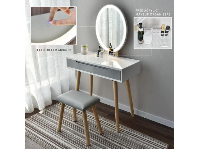 Vanity Table Set With Adjustable, Vanity Table Set With Lighted Mirror Stool