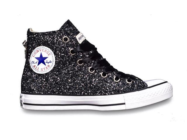 680118644472 CONVERSE WOMEN'S H01FUNO0200 BLACK GLITTER HI TOP SNEAKERS