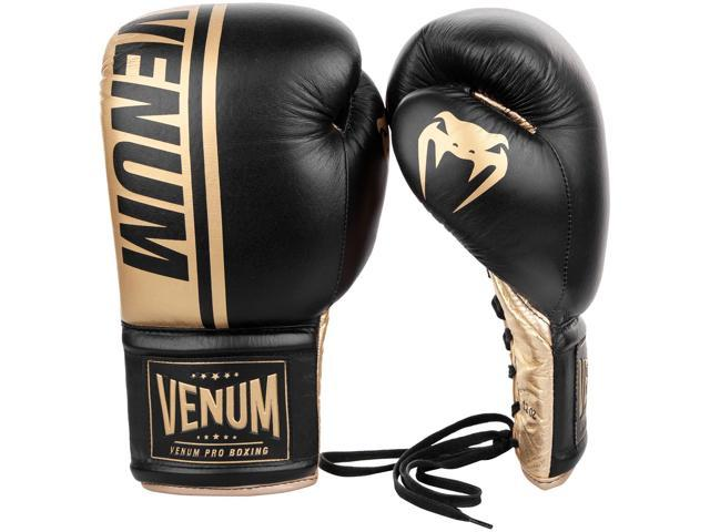 Venum Shield Pro Lace Up Leather Boxing Gloves - Black/Gold - 10 oz -  Newegg com