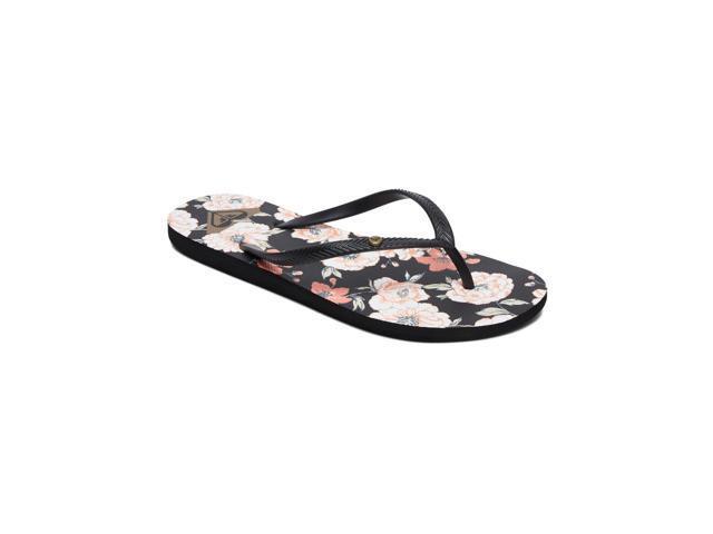 42d5420f3849b Roxy Womens Bermuda II Flip Flops Casual Sandals - Black Graphic/Floral - 9