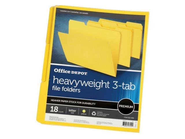 Office Depot Brand Heavy Duty File Folders 3 4 Expansion Letter Size Yellow Pack Of 18 Folders