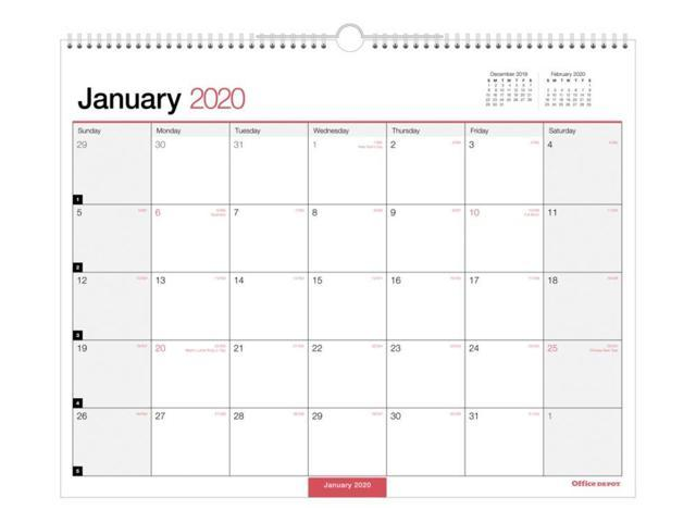 Calendar December 2020.Office Depot Brand Monthly Wall Calendar 15 X 12 White January To December 2020 Od302428 Newegg Com