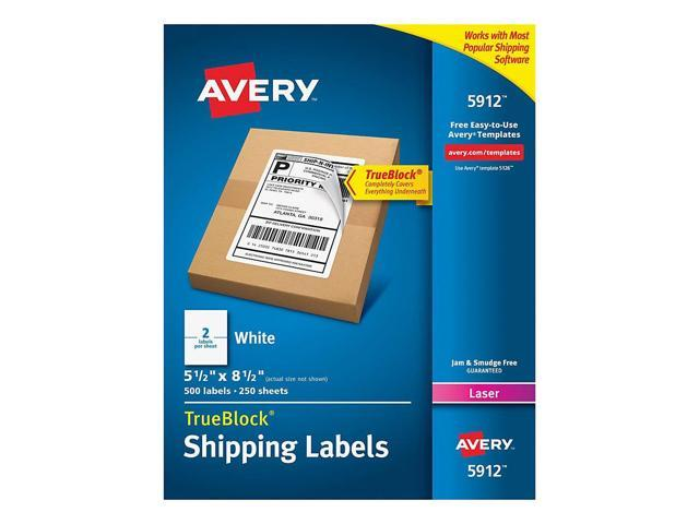 Case Pack of 5 Permanent Adhesive 5523 TrueBlock Technology Avery Weatherproof Mailing Labels Box of 500 2 x 4