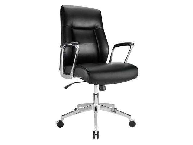 Miraculous Realspace Modern Comfort Delagio Bonded Leather Managerial Mid Back Chair Black Silver Machost Co Dining Chair Design Ideas Machostcouk