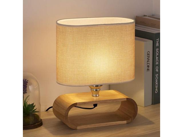 HAITRAL Bedside Table Lamp - Small Wooden Nightstand Table Lamp with Oval  Base and Fabric Lamp Shade Elegant Desk Lamps for Bedrooms, Living Room -  12 ...