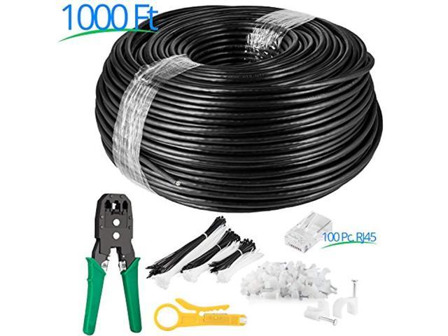 Maximm Cat6 Heavy Duty Outdoor Cable 1000 Ft Black
