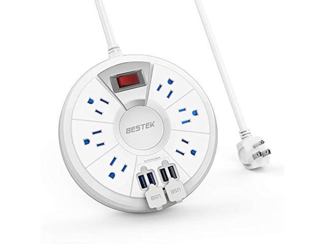 BESTEK 8-Outlet Surge Protector Power Strip 15Amp 5V 4.2A 4 USB Charging Ports