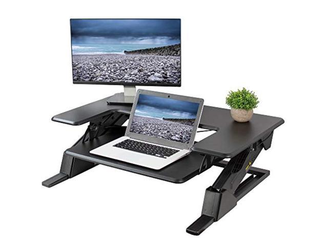 VIVO Oak Height Adjustable Standing Desk Monitor Riser Tabletop Sit to Stand