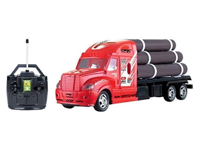 Liberty Imports Rc Remote Control Semi Truck Tractor Trailer Flatbed With Logs Newegg Com