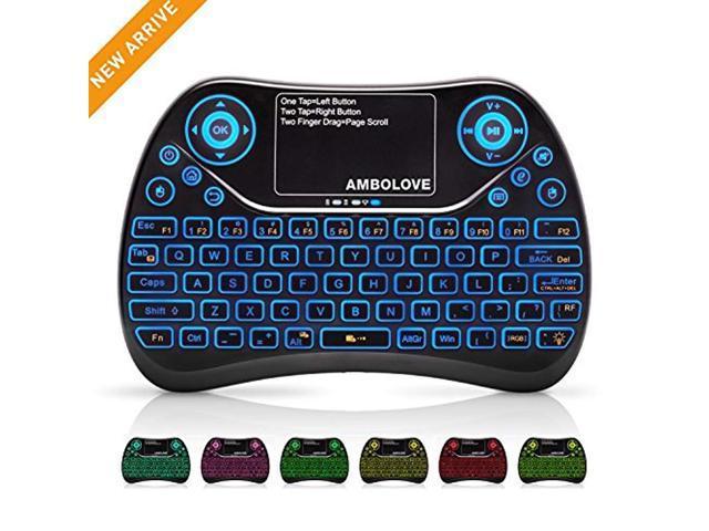 8b5b03ba917 (Updated 2018, 7-Color Backlit) Wireless Mini Keyboard Touchpad Mouse  Multimedia Keys