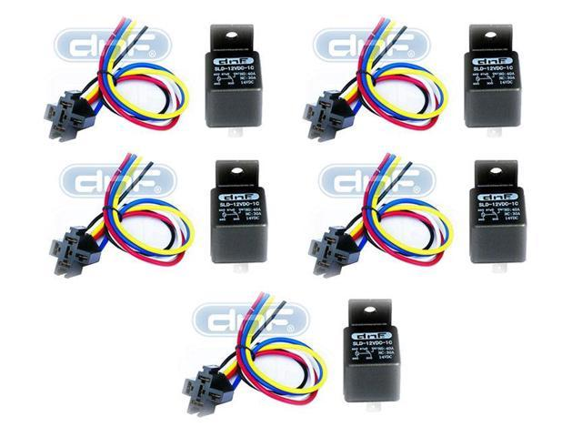 5 Pack 12V 30 40 Amp 5-Pin Auto Style SPDT Relay Harness Set  5 PIN SOCKETS