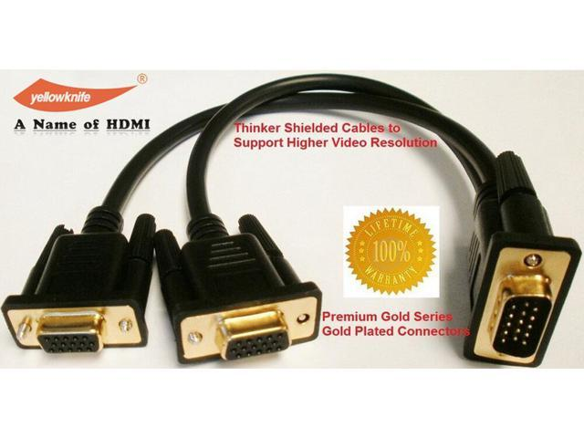 VGA SVGA 1 PC~2 Monitor Male to 2 Dual Female 15 PIN Y Adapters Splitter Cables