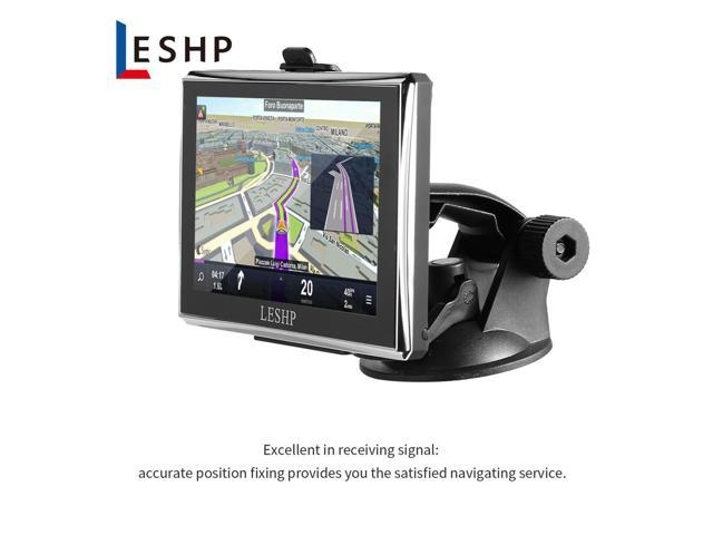 LESHP Black Durable HD Car Capacitive screen GPS Global Positioning System  Touch Screen Navigation Map Free Upgrade Truck Navigators Automobile -