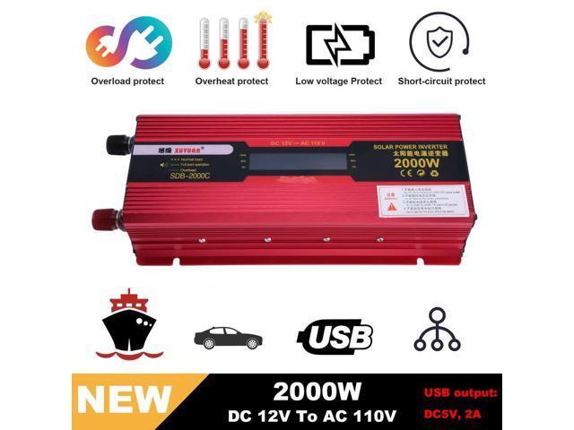Professional 2000W DC 12V To AC 110v Car Solar Inverter Voltage Transformer  Charger Converter Vehicle Power Inverter - Newegg com