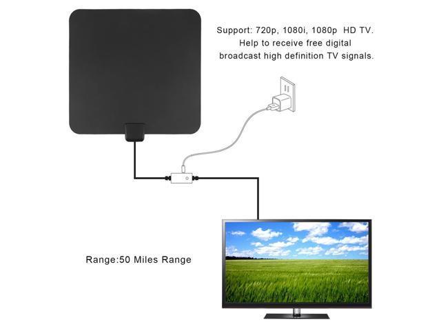 Aerial Amplified 50 Miles Range VHF UHF Indoor Digital 1080P HDTV TV Antenna