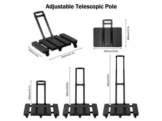 5653cde78462 Extendable Hand Trolley 6-Universal-Wheel Flat Luggage Cart with 3-fold  Handle - Newegg.com