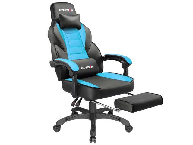 Bossin Racing Style Gaming Chair Computer Desk Chair With Footrest And Headrest Ergonomic Design Large Size High Back E Sports Chair Pu Leather Swivel Office Chair Tiffany Blue Newegg Com