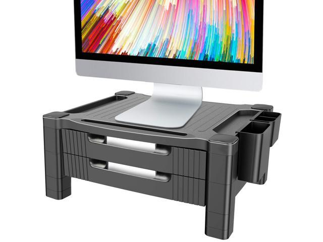 CUSTOM SIZE Small White  Computer Monitor Stand and Desk Organizer with Drawer