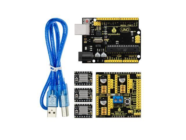 Keyestudio CNC Shield V2 0 + UNO R3 Board +3Pcs A4988 Stepper Motor Driver  Kit for Arduino - Newegg com