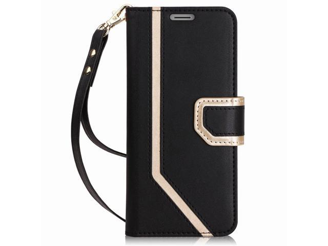 premium selection 74273 5a4b5 FYY Leather Case with Mirror for Samsung Galaxy S9 Plus, Leather Wallet  Flip Folio Case with Mirror and Wrist Strap for Samsung Galaxy S9 Plus  Black - ...