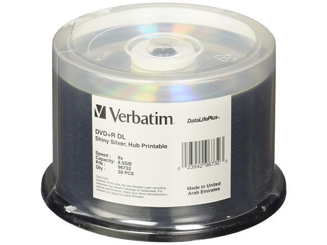 image relating to Verbatim Dvd R Printable known as Verbatim DVD+R DL 8.5GB 8X DataLifePlus Vivid Silver Silk Show Printable - 50pk Spindle -