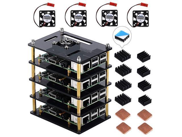 GeeekPi Raspberry Pi Cluster Case, Raspberry Pi Case with Fan and Raspberry  Pi Heatsink for Raspberry Pi 3 Model B+ & Raspberry Pi 3/2 Model B -
