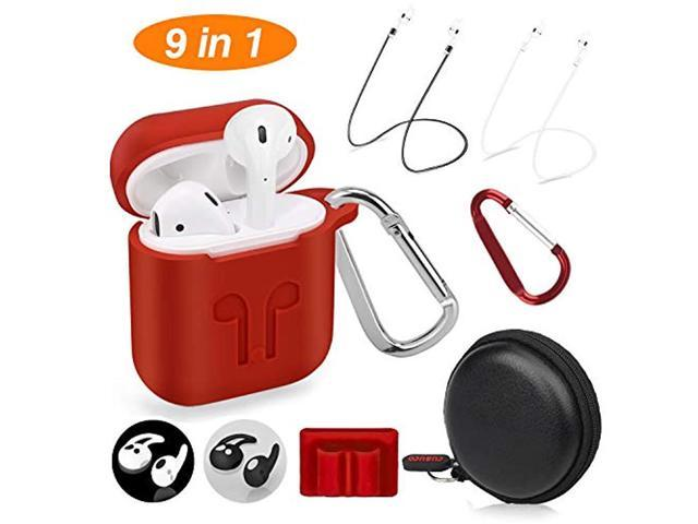 new arrival 65d2e d00e2 Cuauco AirPods Case Protective Silicone Cover with 2 Anti-Lost Airpods  Strap/2 Pairs of Ear Hooks/2 Carabiner/1 Airpods Watch Band Holder/1  Headphone ...