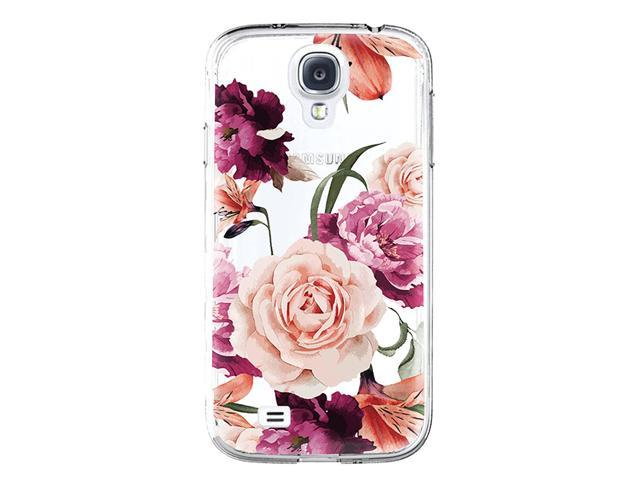 san francisco bfaf1 910ae Galaxy S4 Case,Samsung Galaxy S4 Case with Flower,LUOLNH Slim Shockproof  Clear Floral Pattern Soft Flexible TPU Back Cover for Samsung Galaxy S4  I9500 ...