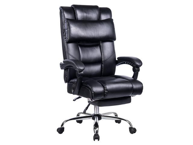 VANBOW Reclining Office Chair - High Back Memory Foam Bonded Leather  Executive Chair with Retractable Footrest, Removable Pillow, Adjustable  Angle ...