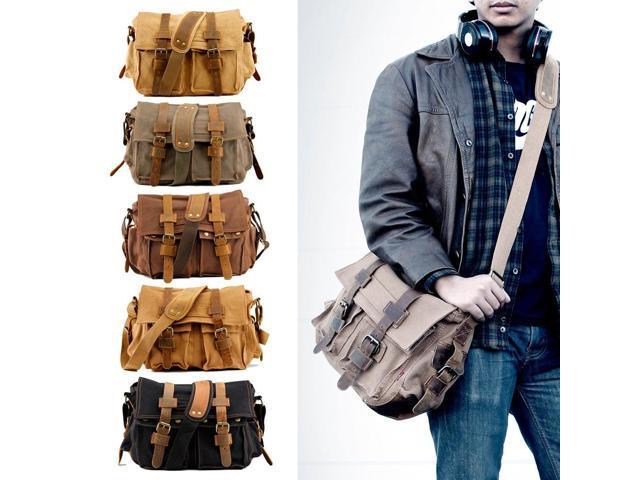 UK Military School Crossbody Bag Shoulder Messenger Men Vintage Canvas Satchel