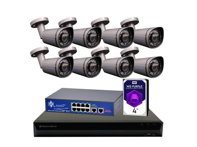 8 Channel 4K PoE Security Camera System, 8 x 8MP (3840 x 2160) Grey Dome IP  Camera with 2 8-8mm Motorized Lens 3X Optical Zoom, Built-in Microphone,
