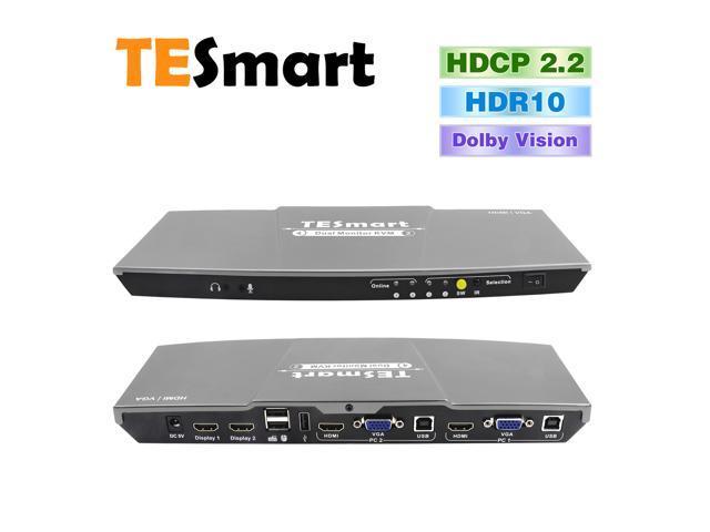 TESmart HDMI + VGA 4x2 HDMI Dual Monitor KVM Switch with 2 Pcs 5ft HDMI KVM  Cables(Gray) - Newegg com