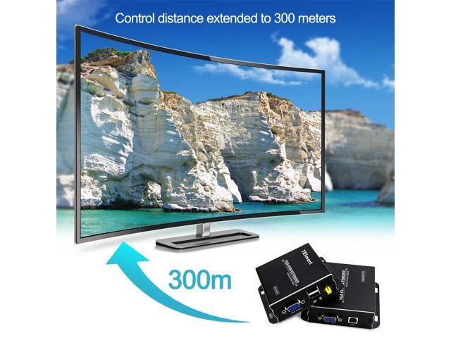 1 Sender+1 Receiver Set TESmart VGA KVM Extender USB with 984ft//300m Long Range 1080P 60Hz Over Cat5e Cat6 Ethernet Cable /…