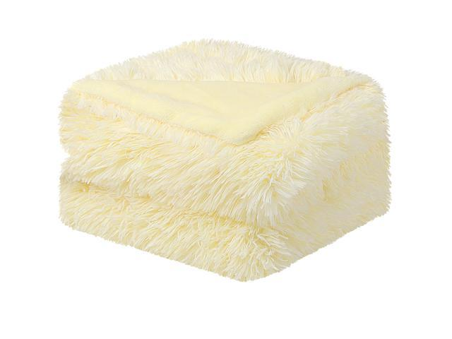 Pale Yellow Throw Blanket.Solid Faux Fur Throw Blanket 50 X 60 Decorative Long Shaggy Blankets Lightweight Long Fur Microfiber Fleece Blanket For Couch And Sofa Keep