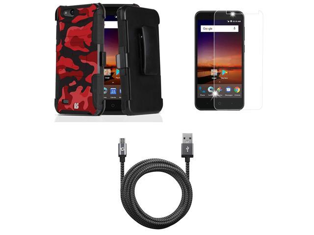 ZTE ZFive C LTE Z558VL - Bundle: Dual Layer Rugged Kickstand Belt Holster  Case (Red Camo), Tempered Glass Screen Protector, Heavy Duty Braided Micro