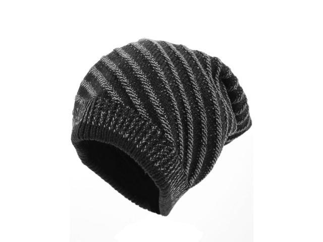 2bade6bce9d Men s Elastic Striped Pattern Textured Knitted Beanie Hat Black ...