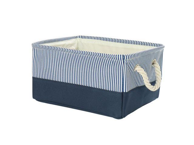 Rectangle Storage Baskets Canvas Fabric Bin Container With Rope Handles Storage Bins Organizers For Shelves Office Bedroom Closet Dark Blue 17 7 X13 8 X9 8 Newegg Com