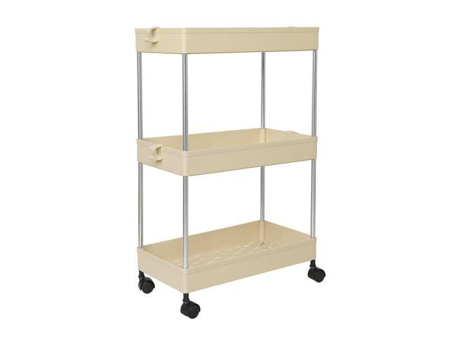 3 Tiers Storage Rolling Cart With Wheels Slide Out Storage Organizer Rack Shelf Tower For Laundry Bathroom Kitchen Beige Newegg Ca