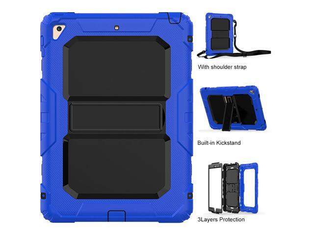 purchase cheap 3d4c6 fd590 iPad 9.7 Case iPad Air 2 Cover Heavy Duty Rugged Shockproof Silicone  Protective Case With Stand & Shoulder Strap For Apple iPad Air 2 / iPad Pro  9.7 / ...
