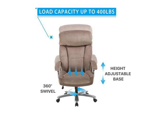 Ergonomic Big Tall Executive Office Chair With Upholstered Swivel 400lbs High Capacity Adjustable Height Thick Padding Headrest And Armrest For Home Office Beige Newegg Com