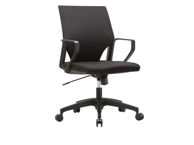 Clatina Ergonomic Mid Back Upholstered Swivel Task Chair With Black Plastic Arm Rest And Base For Home And Office Newegg Com
